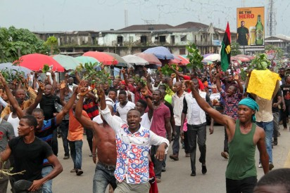 The Indigenous People of Biafra on a Peaceful Protest over the Arrest of the Director of Radio Biafra yesterday along Ikwerre road in Port Harcourt, Rivers State. Photo: Nwankpa Chijioke