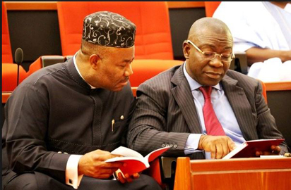 PDP Senators: Senate Minority Leader, Sen. Godswill Akpabio and Deputy Senate President, Ike Ekweremadu