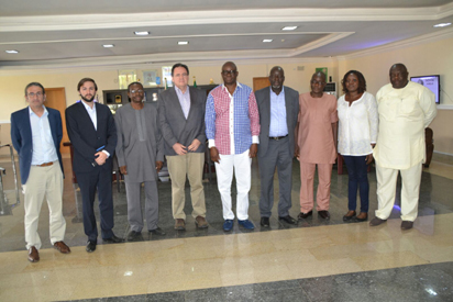 Governor Ayodele Fayose of Ekiti State (m), his cabinet team and members of the World Bank Delegation, when they paid a courtesy call on the governor.