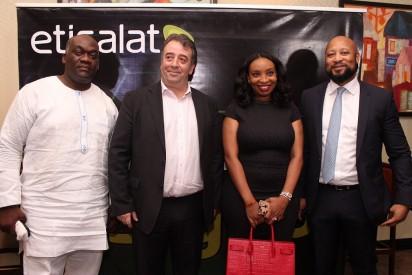 Etisalat Customer, Patrick Osimon, Chief Marketing Officer, Etisalat Nigeria, Francesco Angelone, Etisalat Customer, Chizoba Okpala-Atsu and Director, Customers Care, Etisalat Nigeria, Plato Syrimis at the Etisalat Customer Forum held in Lagos on Friday.