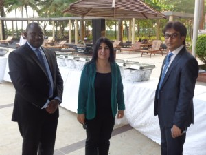 R-L: Business Planning Manager, Asfi Iftakhar; Executive, International Patients Program, Semira Dikbas and Hospital Records Department, Muhammad Mugoya all of Saudi German Hospital (SGH), at the event.