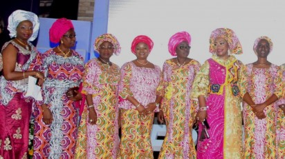 conference: From left; Former Deputy Governors, Lagos State, Mrs. Sarah Sosan and  Mrs. Adejoke Orelope-Adefulire, first Lady of LagosState, Mrs. Bolanle Ambode, Convener Arise  Women,  Pastor Siju iluyomade and wife of the Vice-President, Mrs. Dolapo Osibajo at the Arise Women Conference 2015 in Lagos.