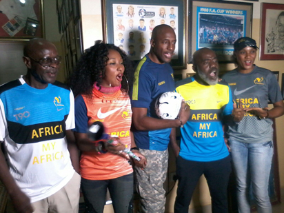 (From left) Gen. Lanre Apata, Amb Rachael Bakam, Ambassador John Fashanu, Barrister Ndukwe Sam Obu and Mary next2none model