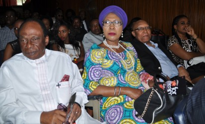 Pix From Left; Dr. Matthew Eshalomi, Mrs. Patricia Arawore, Mr. Kelly Arawore and Mrs. Mojisila Aboyade-Cole, during the Book Presentation Title; ''For Sam , A collecetion of Contemporary Thoughts'' Held on Thursday 17-12-2015, At Nigerian Institute of International Affairs [NIIA], Kofo Abayomi Street Island Lagos. PHOTO; Bunmi Azeez