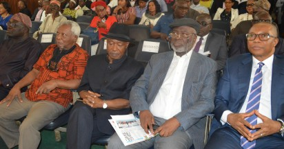Pix From Left; Mr Jimi Disu, Author of the Book, Prof J.P Clark, Mr Sam Amuka, Publisher of Vanguard Newspaper, Senator Bode Olajumoke, and Mr Fola Adeola, Chairman of Occassion, During the Book Presentation Title; ''For Sam , A collecetion of Contemporary Thoughts'' Held on Thursday 17-12-2015, At Nigerian Institute of International Affairs [NIIA], Kofo Abayomi Street Island Lagos. PHOTO; Kehinde Gbadamosi