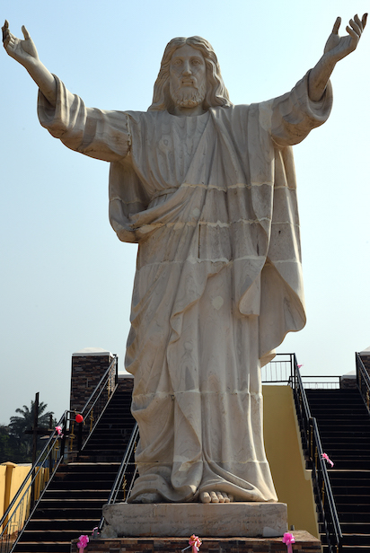 A picture taken on January 1, 2016 shows the nine-metre tall statue of Jesus Christ carved from white marble, thought to be the biggest of its kind in Africa, unveiled in Abajah,