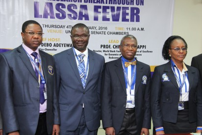 L-R: Deputy Vice Chancellor, Prof. Kayode Adekeye with Director ,World Bank  Funded African Center of Excellence for Genomics of Infectious Diseases,  Prof. Christian Happi, Vice Chancellor, Prof. Debo Adeyewa and the Registrar, Mrs. Bolatito Oloketuyi  during the Press Conference on New Research Breakthrough on Lassa Fever, held at Redeemer's  University, Ede in Osun State.