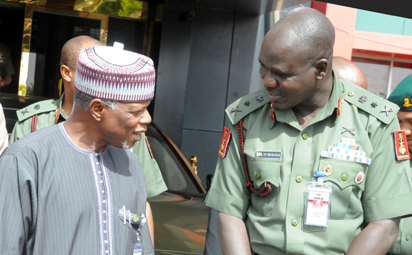 FILE: CHIEF OF ARMY STAFF, LT.-GEN. YUSUF BURATAI (R), WELCOMING THE COMPTROLLER- GENERAL, NGERIA CUSTOMS SERVICE, RETIRED COL. HAMEED ALI, TO THE ARMY HEADQUATERS IN  ABUJA ON THURSDAY (5/11/15). 7027/5/11/2015/JAU/ICE/NAN