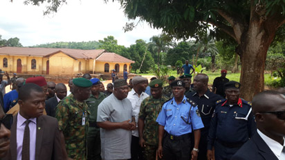 ENUGU ATTACK—Governor Ifeanyi Ugwuanyi of Enugu State(3rd left); General Officer Commanding, 82 Division of Nigeria Army, Enugu, Major General Ibrahim Attahiru (2nd left); senator representing Enugu North Senatorial District, Senator Chuka Utazi(behind); State Commissioner of Police, Nwodibo Ekechukwu (3rd right); and state Commandant of Nigeria Civil Defence Corps, Mr. Steve Lar(2nd right) at the scene of the herdsmen's Monday attack at Nimbo, Enugu State, yesterday.