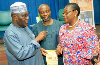"Former Vice President, Atiku Abubakar; Author, Chido Onumah and former Education Minister, Dr. Oby Ezekwesili, at the launch of Onumah's book, ""We Are All Biafrans"", in Abuja, on Tuesday, May 31, 2016."
