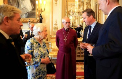 Cameron talking to Queen of England and others.