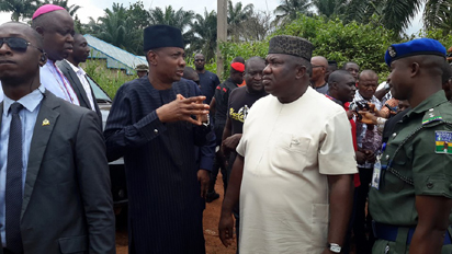 Governor Ifeanyi Ugwuanyi of Enugu State visits Ndiagu, Attakwu, Akegbe-Ugwu in Nkanu-West Local Government Area of Enugu State, invaded on Thursday morning by over 50 Fulani Herdsmen armed with machetes. Slaughtered in the attack was a Catholic Seminarian, Lazarus Nwafor.
