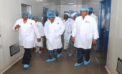 VISIT: Centre is the MInister of State for Health,Dr. Osagie Ehanire being conducted round  the PharmaCentre in Ota Ogun state recently by the Managing Director, May & Baker Nigeria Plc, Mr. Nnamdi Okafor  recently.