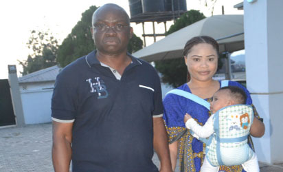 Governor Ayodele Fayose of Ekiti State and Mrs Fani-Kayode after her release.