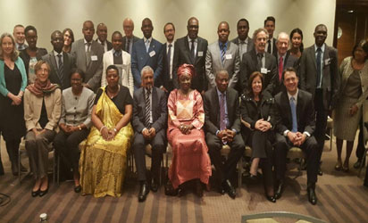 Former  President Jonathan at the African Union High Level Meeting for Heads of Mission of International Election Observation Missions in Johannesburg, SA. Other participants include HE Mrs Aminata Toure, Fmr Prime Minister of Senegal. HE President Cassam Uteem, Fmr President of Mauritius, Dr. Pat Merloe, Director of Elections Integrity Programs at NDI, among others.