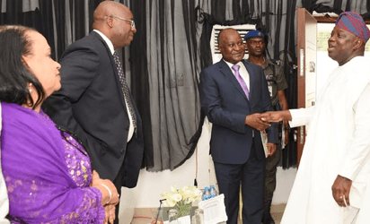 Lagos State Governor, Mr. Akinwunmi Ambode, with former Deputy Governor, Central Bank of Nigeria (CBN), Mr. Tunde Lemo;Chairman, West Africa, Rendeavour, Mr. Rotimi Oyekanmi and former Secretary to the State Government, Princess Aderenle Ognsanya during the Launching of the maiden edition of an Educative TV series: Lagos Global on TV at the Banquet Hall, Lagos House, Ikeja, on Thursday, November 3, 2016.