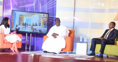 Governor Akinwunmi Ambode (middle) with Prof. Ademola Abass (right) and Presenter, Temitope Oluseyi Oshin (left) during the maiden edition of Lagos Global on TV at the Banquet Hall, Lagos House, Ikeja.