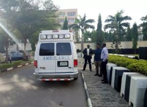 Metuh on stretcher, arrives court in Ambulance