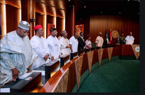 Buhari, Former heads of state, Obasanjo, Gowon, Abubakar and others during the Council of State's meeting