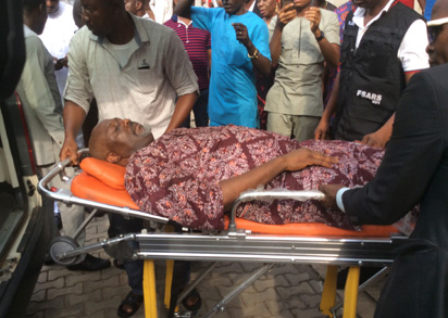 Senator Dino Melaye on stretcher