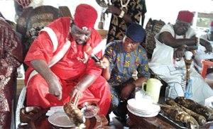 *Dr. Nwachukwu Anakwenze (left) and Igwe Patrick Okeke of Abagana in white attire