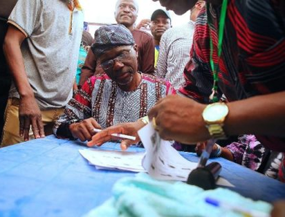 Sanwo-Olu at Lagos APC primaries voting