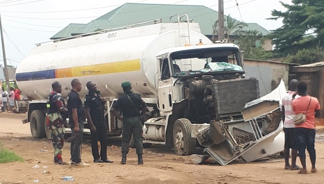 a commercial motorcyclist was crushed to death by the tanker.