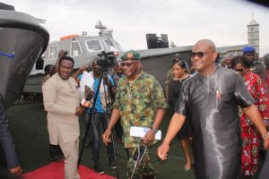 Rivers State Governor, Nyesom Ezenwo Wike launching Operation Sting at the Sharks Stadium in Port Harcourt yesterday