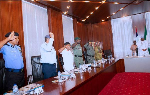 Buhari, NGF security council, security heads, meet in Aso Rock