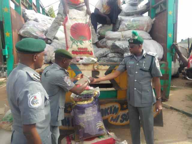 Customs seizes bags of contraband rice disguised as beans