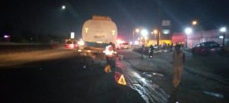 Tanker loaded with 33,000 litres of petrol gutted by fire on Otedola Bridge, Lagos