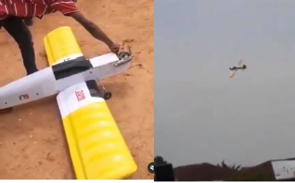VIDEO: FUTO final year mechanical engineering student, test runs aeroplane he made for final year project