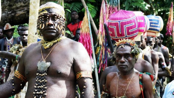 Voters take part in a non-binding independence referendum in Kunua Community, Bougainville