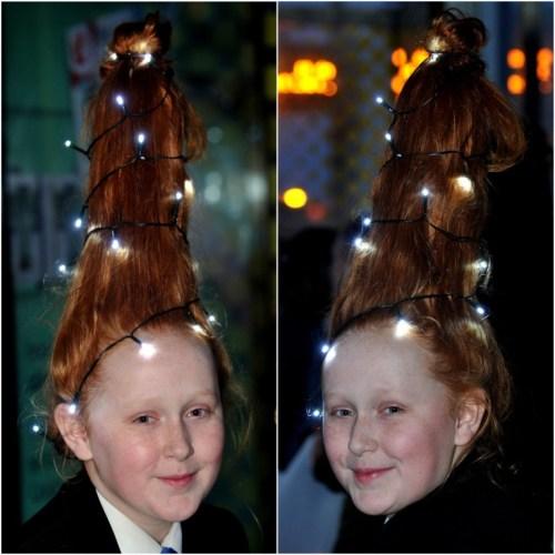 Girl storms school with hair-do like christmass tree