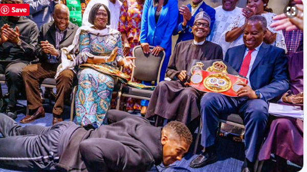 Anthony Joshua Presents Heavyweight Titles To Nigeria President In UK
