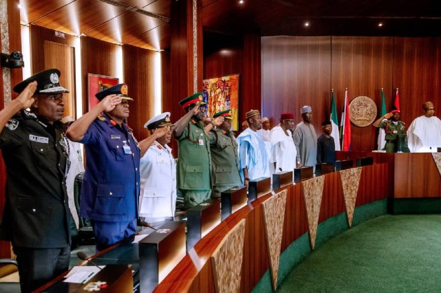 BREAKING: Buhari, Service Chiefs, Kyari meet in Aso Rock