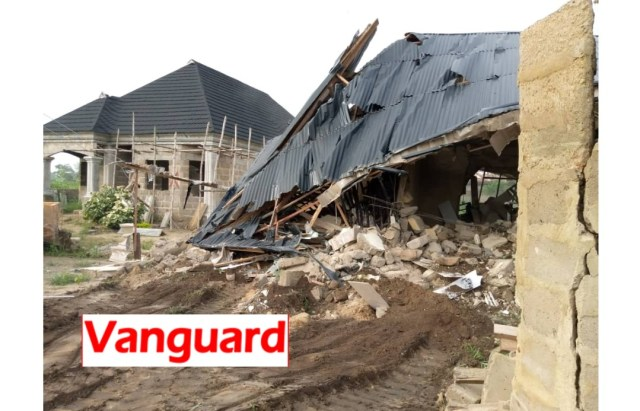 BREAKING: Ayade demolishes mini-estate owned by Kidnap kingpin in Calabar [Photos]