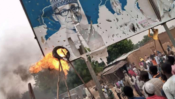 INSECURITY: Protesters burn APC, Buhari's bill boards in Katsina community
