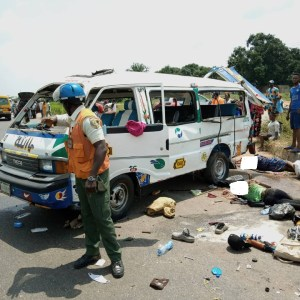 GRAPHIC: Three dead, six injured as bus summersaults in Ogun