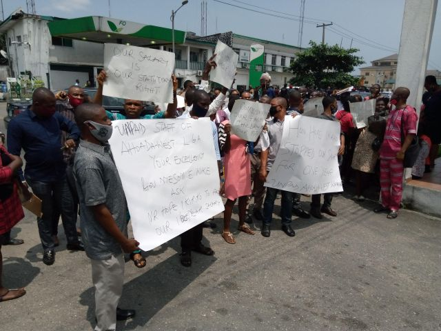 Rivers LG workers protest non-payment of 13 month salaries