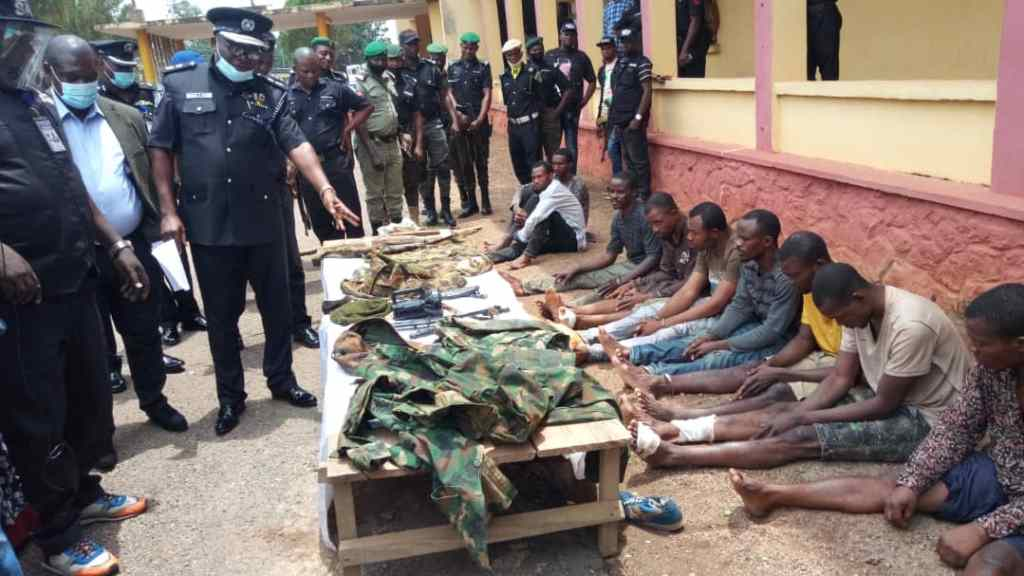 Police parade 7 fake soldiers, 2 others for robbery, rape