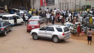 PHOTOS: Awkuzu SARS under lock as protesters paralyse Awka
