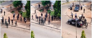 VIDEO, PHOTOs: Police gunshots scare vandals from looting palliatives store in Abuja