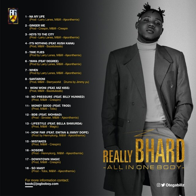 Otega unveils artwork, track-list for new album 'Really Bhard'