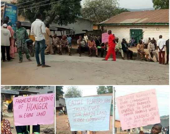 Irate farmers protest destruction of farmland, crops by herdsmen in Kogi
