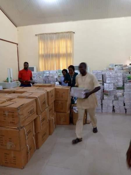 OSOPADEC distributes educational materials to students