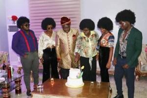 Ikpeazu's wife, children mark surprise 29th wedding anniversary with 'old school attires'