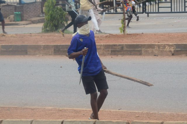 Pic15 Armed thugs disrupt NLC protest in Kaduna