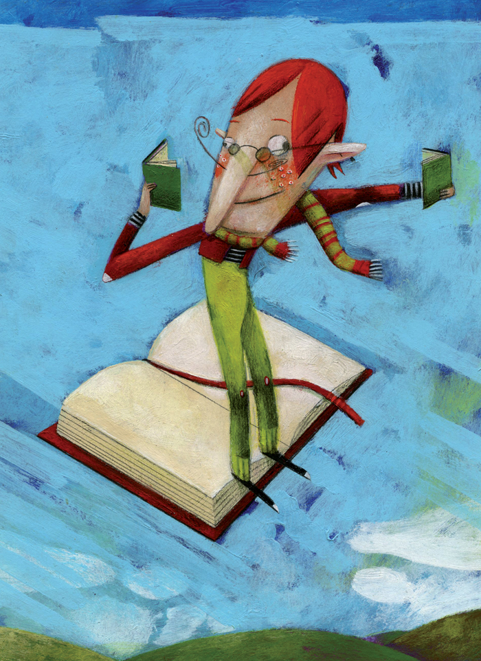 Illustration of a man reading books while flying on a book. Copyright by Steven Van Hasten.