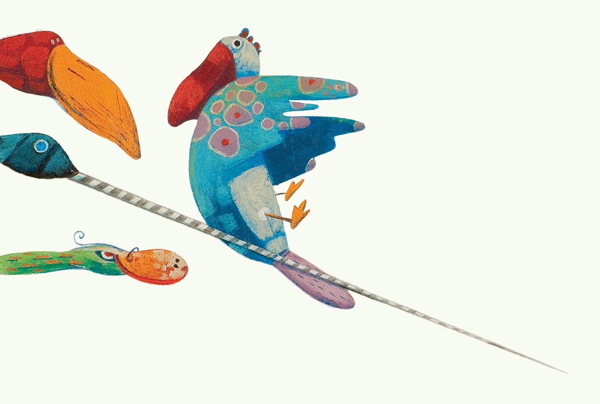 Illustration of some strange birds. The drawing comes from the children's book Wauw!